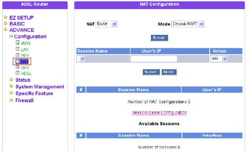 FAQ ADSL How can I setup NAT mode for Dynamix UM-A ?